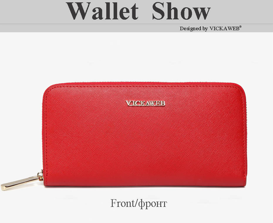 VICKAWEB Big Female Wallet Solid Women Wallets Genuine Leather Zipper Long Purses New Standard Wallets Fashion Ladies Purse 06-VICKAWEB06--016