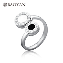 Engraving Stainless Steel Silver Plated Women Ring Unique Design Solitaire Black And White Stone For Women Christmas Ring N2