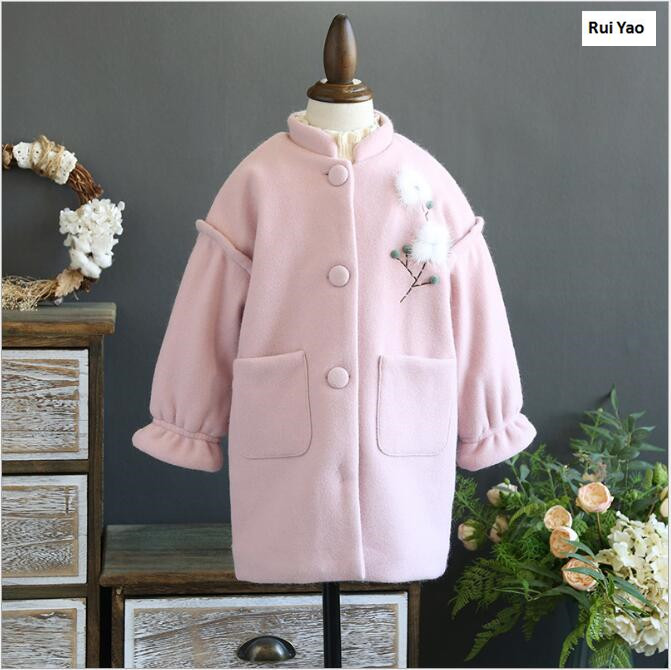 1753791 2017 Winter Baby Girl Coat Fashion Solid Fur Flower Lolita Girl Outerwear Lolita Girls Clothes Korea <br>