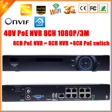 Surveillance H.264 PoE NVR 8Channel For 3MP FULL HD 1080P IP Camera PoE 8CH PoE NVR 1080P 48V 802.3af ONVIF 2.0 WIfi 3G