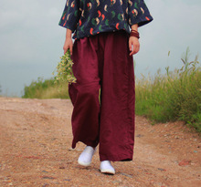 Women Autumn Vintage Linen Elastic Waist Harem Pants Causal Ladies Loose Trousers 2016 Fall Female Solid Color Linen Trousers