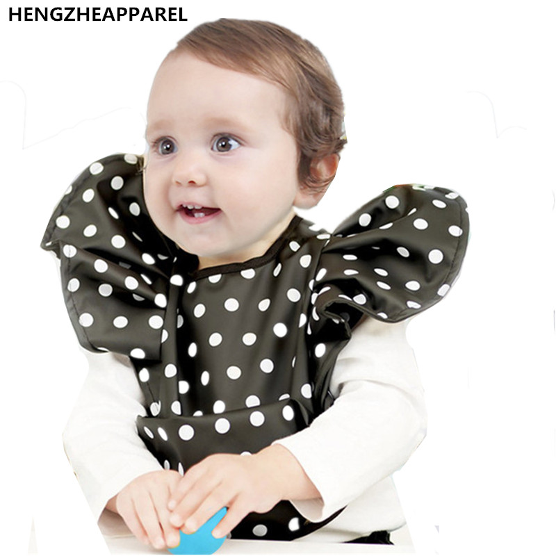 Children  infant rice pocket waterproof baby scarf dots eat pocket burp cloth kids products toddlers cute clothinges cover