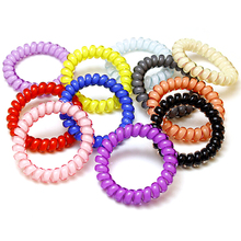 5pcs/bag Candy Color Hair Jewelry Headbands Telephone Line Hair Rope for Women Hair Band(China)