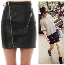 Buy Sexy Women Front Zipper PU Skirts High Female Streetwear High Waist Korean Faux Leather Bodycon Lining Mini Skirts 2017 for $8.67 in AliExpress store