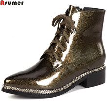 Asumer 2018 fashion women boots pointed toe ladies boots zipper square heel cross tied classic ankle boots autumn winter(China)