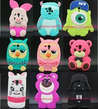 Cute 3D Silicon Sulley Cat Bear Owl Mike Piglet Cartoon Soft Phone Back Skin Case Cover for Samsung Galaxy S3 mini i8190