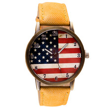 2017 1PC American Flag pattern Leather Band Analog Quartz Vogue Wrist Watches Relogio Masculino Z1025(China)