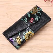 vintage dragonfly genuine women wallets flowers prints cow leather purse and wallet bag fashion clutch long ladies coin purse