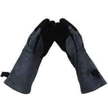 Heat insulation waterproofing cowhide BBQ gloves/Comfortable outdoor barbecue protective gloves