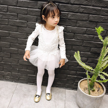 Girl Fall Dress 2017 New Girls Cotton Lace Tulle Dresses Fashion White Pink Girls Dresses Elegant Cute Kids Autumn Clothing