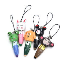 New Arrival 1 PC Wooden Cute Cartoon Animals Short Pens Mobile Phone Pendant Wood Ballpoint Pen Wholesale(China)