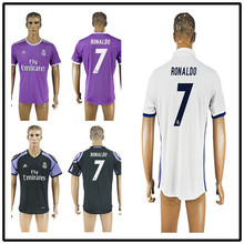 2017 Thailand Quality Real madrid soccer Jerseys New Font 16 17 RONALDO white Purple Third Black JAMES BALE RAMOS ISCO MODRIC fo