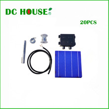 DIY 80W Panel - 20pcs 6x6 Whole Solar Cells KIT w/ Tab, Wire Bus & J-box&Cable(China)