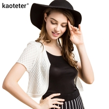 100% Pure Knitted Silk Female Shawl Women's Hollow Wild Solid Fashion OL Cardigan Female Thin Small Waistcoat Sunscreen Shirts(China)