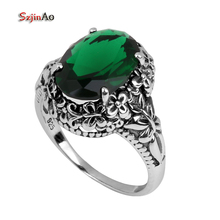 Szjinao Boutique Wholesale Jewelry Manufacturer Carving Antique Jewelry Silver Oval Green Stone 925 Sterling Silver Ring Women