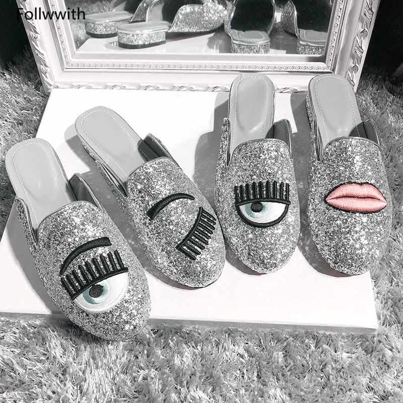Bling Silver Glitter Big Eyes Round Toe Flats Spring Summer Follwwith Brand Women  Shoes Flats   f662e77ed7cb