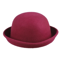 Brand New Vogue Women Girl's Wool Cute Trendy Bowler Derby Hat Wine Red for good selling