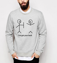 2017 autumn winter hipster hoodies funny Stick Figures sweatshirt I Got Your Back men top hooded  tracksuit harajuku pp