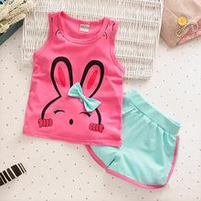 Toddler Girls Sport Suits Sleeveless Vest Short Pants Children Clothing Set 2017 New Summer Casual Rabbit Pattern Kids Clothes