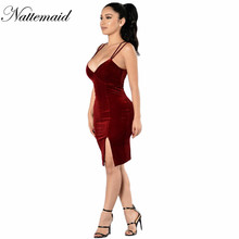2016 Christmas Day Vintage Spaghetti Strap Red Velvet Dress Autumn Winter sexy Club Warm Beauty Dresses vestidos Lady Outfits