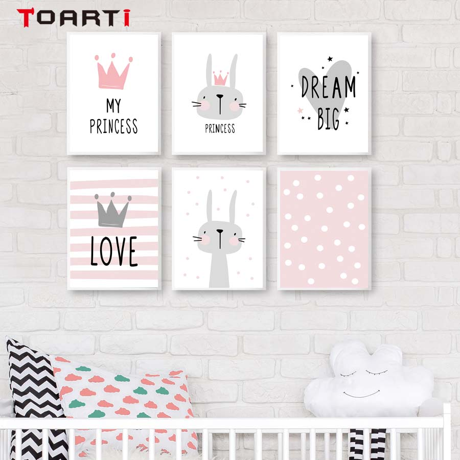 Princess Pink Rabbit Cartoon Poster&Print Modern Canvas Painting Wall Art Mural Modular Wall Picture For Girl Bedroom Wall Decal (2)