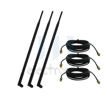 3 9dBi Dual band WiFi RP-SMA Antennas + 3 10ft Extension Cables for Linksys E2100L