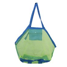 Foldable Sand Removable Mesh Beach Bag for Kids Toys Green Towel + Blue(China)