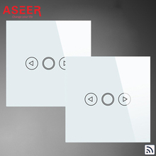 ASEER,EU Standard 1Gang 2Way Touch Remote Dimmer Switch Double Control Switches 500W,AC110-240V,Crystal Tempered Glass Panel(Hong Kong)