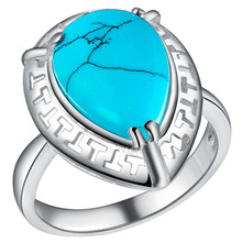 PJ053 2016 New Top Quality Silver Plated Drop Of Water Turquoise Stone Tag Ring For Women Men;s Party  Wedding Jewelry Ring