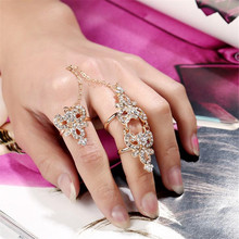 Fashion 2016 Hot Luxury Knuckle Joint Girl Rhinestone Gift Ring Crystal Celebrity Party Connect Full 2 Finger Rings for Women