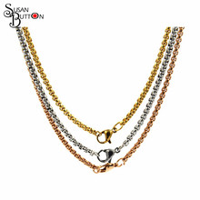 "Mix Stainless Steel Chain Necklace Jewelry 24"" fashion Rolo Link Chain necklace pendant Lobster claw closure cube chain necklace"