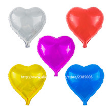 25pcs/lot 18inch pure color balloons love Heart balloon aluminum foil ballons for wedding decoration toy