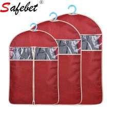 High Qaulity Hanging Non-woven Garment Bag Cloth Suit Protector Dust Cover Wardrobe Closet Organizer Fabric Zipper Clear Newest(China)