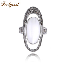 Feelgood Retro Ellipse Opal Stone Ring Fashion Jewelry Antique Silver Color Vintage Rhinestone Women Rings(China)