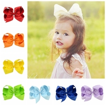 15pcs/lot 6 Inch Large Kids Baby Girl Grosgrain Ribbon Bow Clips DIY Headdress Children Hair Accessories 588(China)