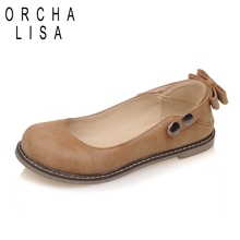 ORCHA LISA Butterfly knot Straps Button Rivets Round toe Lady cute flats Shoes woman Summer Spring Casual Dating Party QL6650(China)