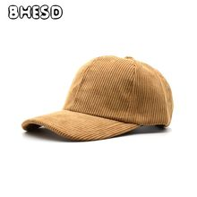BHESD 2017 Khaki Corduroys Dad Hat Women Plain Corduroy Baseball Cap Autumn Men Casual Snapback Hat Winter Cap Gorros Bone JY636(China)