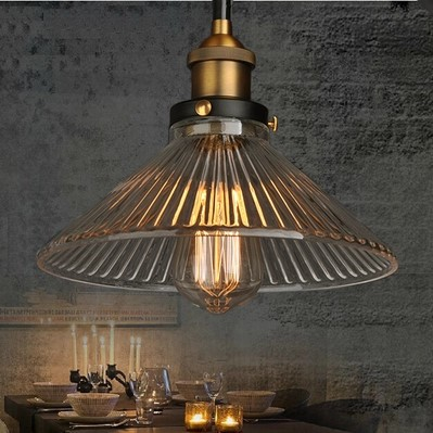 60W Retro Loft Style Edison Pendant light Vintage Industrial Lamp In Glass Lampshade Lamparas Industrial Vintage<br>