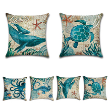 Marine Ocean Style Sea Turtle Patterns Square Cotton Linen Sea Horse Sofa Throw Cushion Covers Octopus Home Decor Pillows V5155(China)