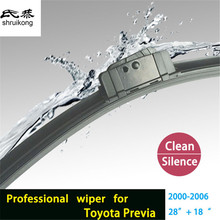 "2pcs/lot car styling stickers Wiper blades for Toyota Previa (2000-2006) 28""+18"" fit heavy duty hook wiper arms only(China)"