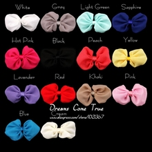(120pcs/lot) 14 Colors High Quality Handmade Hair Bow For Hair Band Colorful Satin Chiffon Bowknot For Girl(China)
