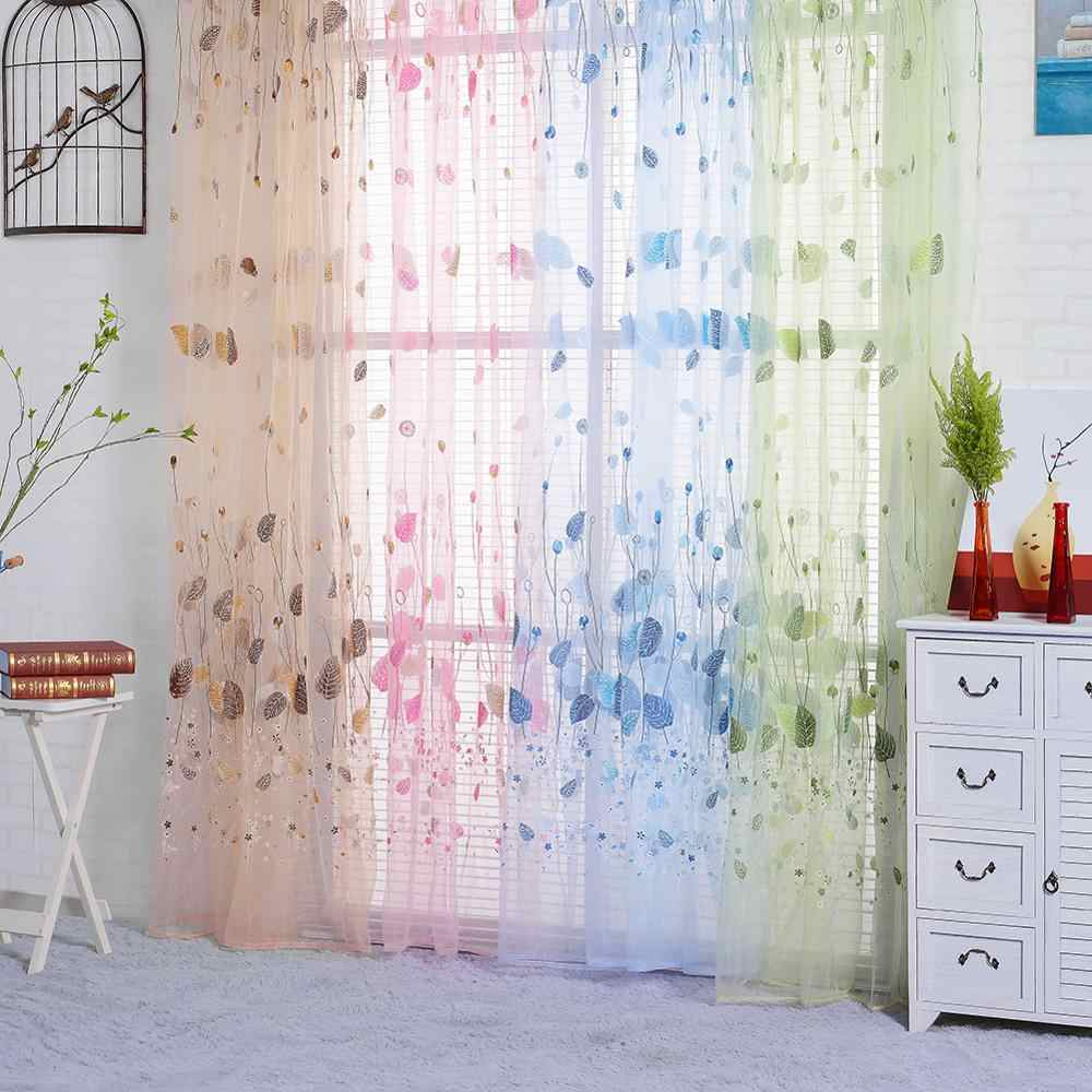 Tulip Printed Tulle Window Curtains for Bedroom Living Room Sheer Drape Panel Home Decoration 200x100cm