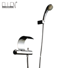 Luxury Wall Mounted Bath Faucet with Led Hand Shower Waterfall Water Mixer for Bathtub Solid Copper Chrome Finished