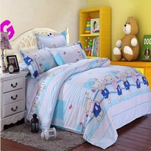 Cartoon Animal Bear Printed Bedding Set Polyester Fiber Quilt Duvet Cover Bed Sheet Pillowcases Single Double Queen King Size