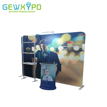 Exhibition Booth 10ft*7.5ft Straight Tension Fabric Advertising Banner Wall Display With TV Stand And Oval Table(Include All)(China)
