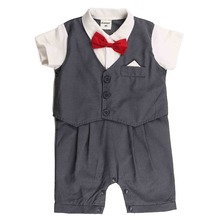 Short Sleeve Formal Style Newborn Baby Rompers for Boys Children's Rompers Infant Jumpsuit Cotton Kids Baby Suit for 80-95CM