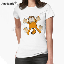 Antidazzle Asian Size Popular Garfield plush T shirt Casual Funny Cartoon Women Tees Tops Animal Cute O-neck Shirts Tops