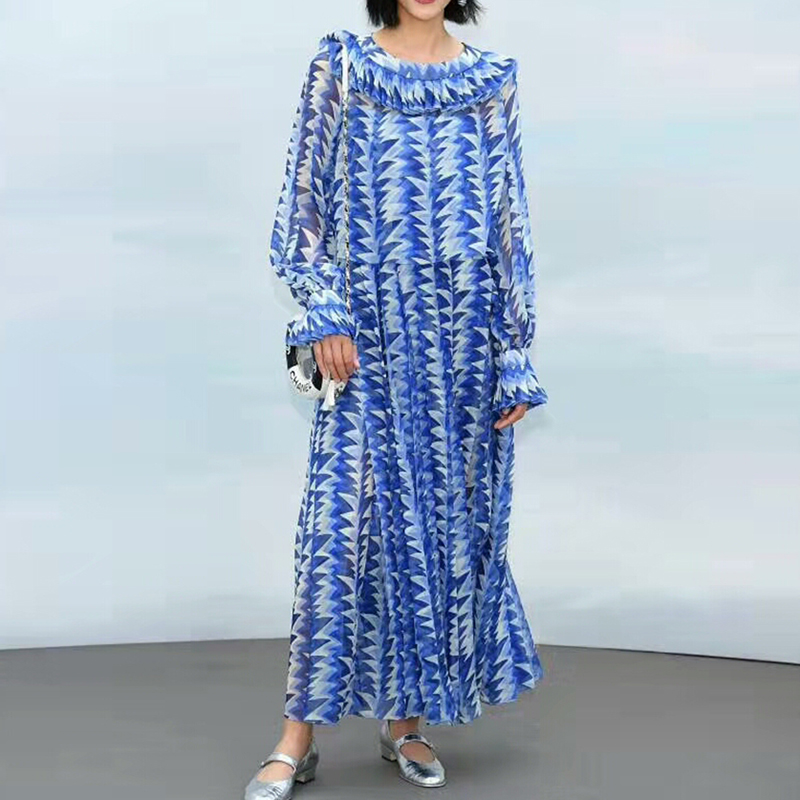 HIGH QUALITY Newest Fashion 2019 Designer Runway Dress Women's Gorgeous Print Mid-calf Dress