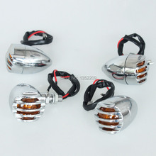 New 2pairs Grill Amber Lens Chrome Bullet Turn Signal Lights For Harley Cafe Racer Chopper Custom Free Shipping