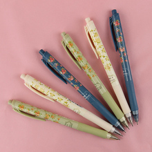 6PCS Small Fresh Flower Series Ballpoint Pen Plastic Ballpen Kawaii Stationery Student Essential Supplies